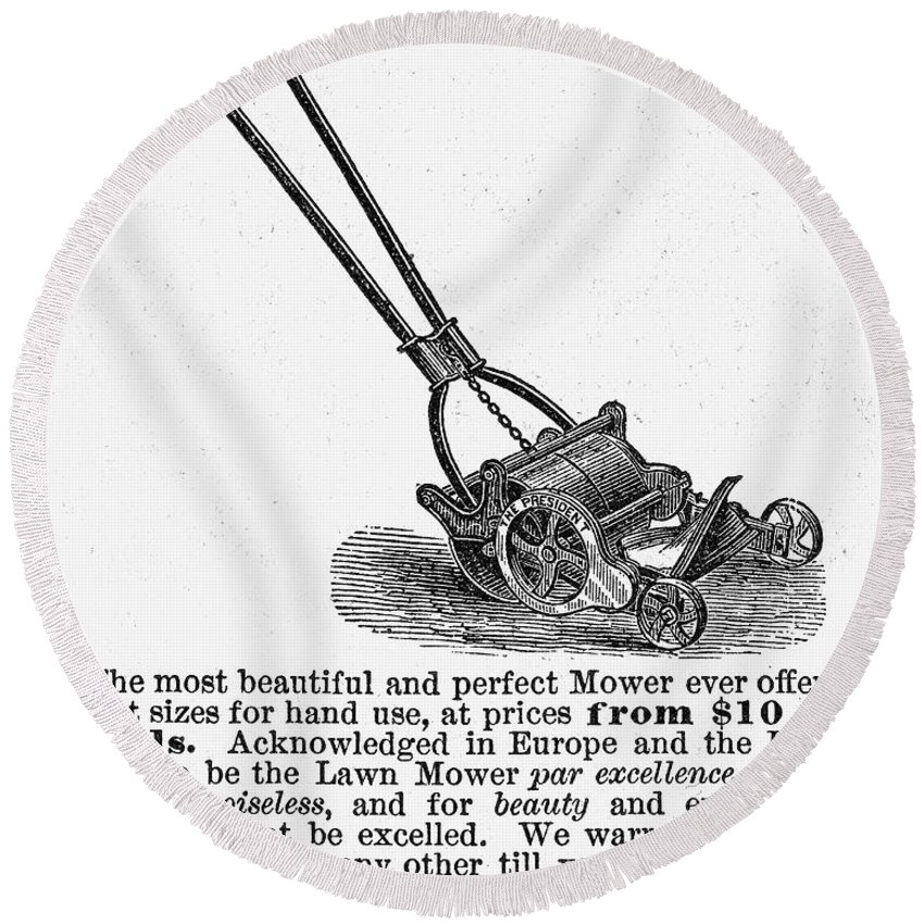 1878 Round Beach Towel featuring the photograph Lawn Mower Ad, 1878 by Granger