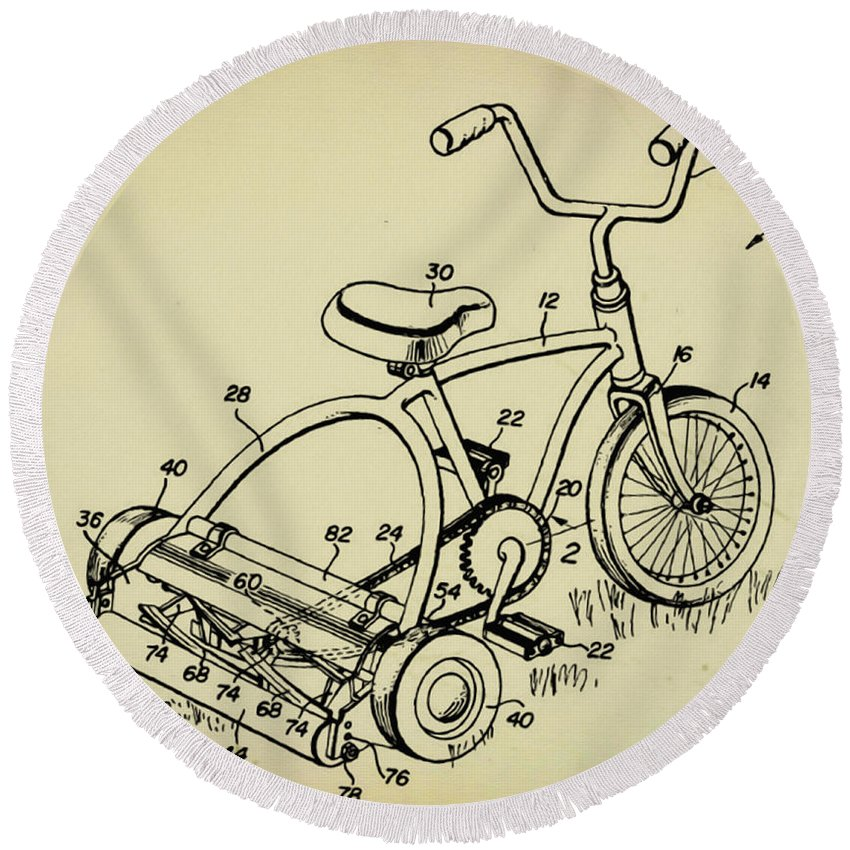 Lawnmower Tricycle Patent Round Beach Towel featuring the digital art Lawnmower Tricycle Patent by Bill Cannon