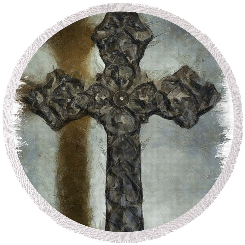 Faith Round Beach Towel featuring the mixed media Lead Me To The Cross 1 by Angelina Vick
