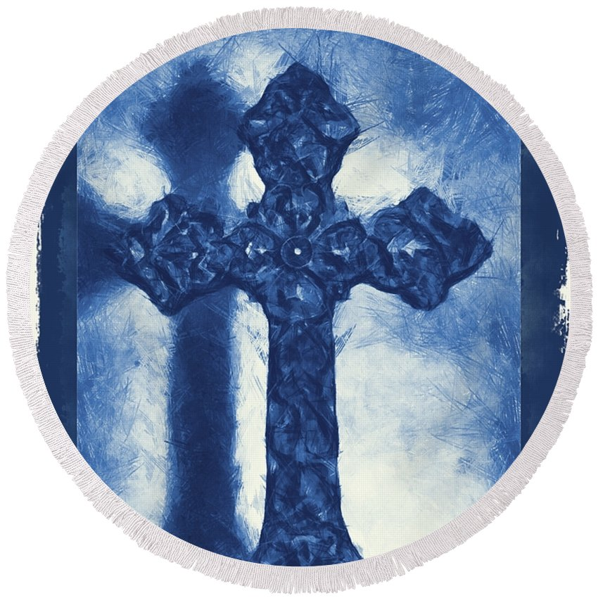 Faith Round Beach Towel featuring the mixed media Lead Me To The Cross 3 by Angelina Vick