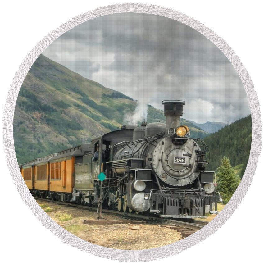 Steam Train Photographs Round Beach Towel featuring the photograph Leaving Now by Ken Smith
