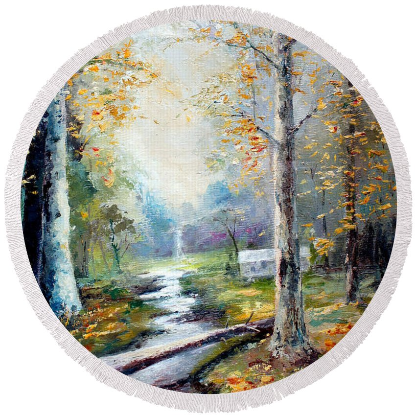 Australian Round Beach Towel featuring the painting Leaving The Woodland Creek by Giro Tavitian