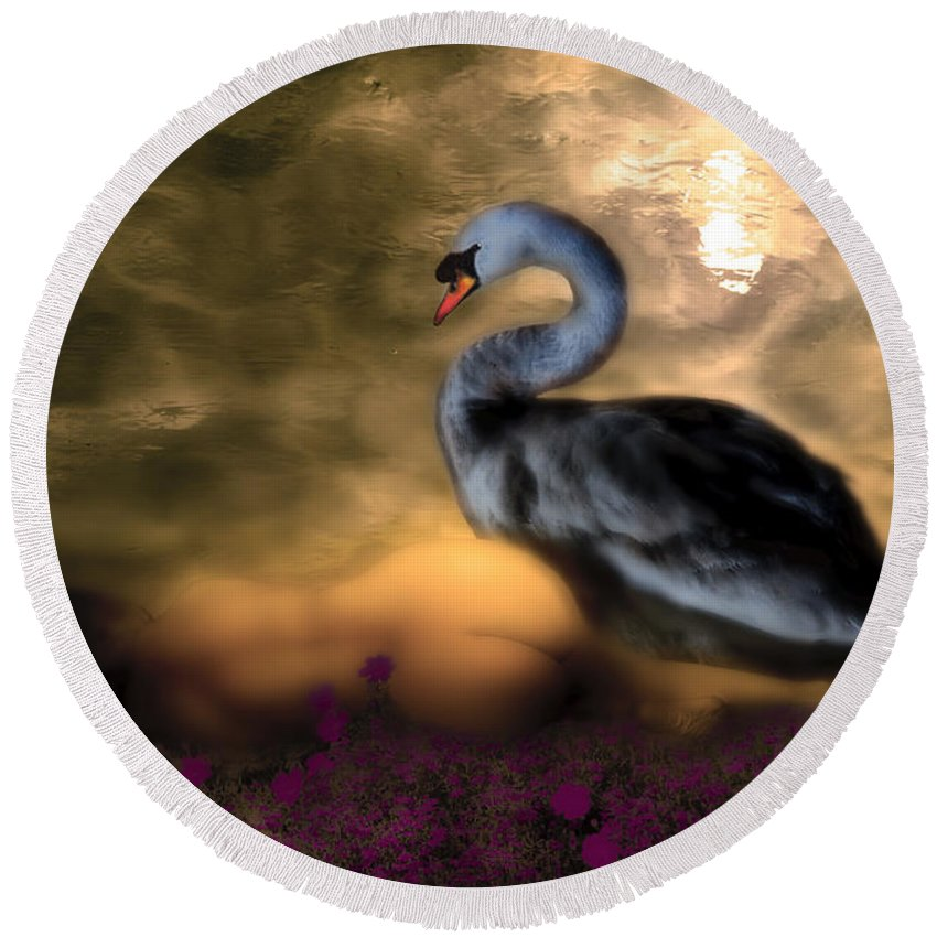 Leda Round Beach Towel featuring the digital art Leda And The Swan by Rosa Cobos