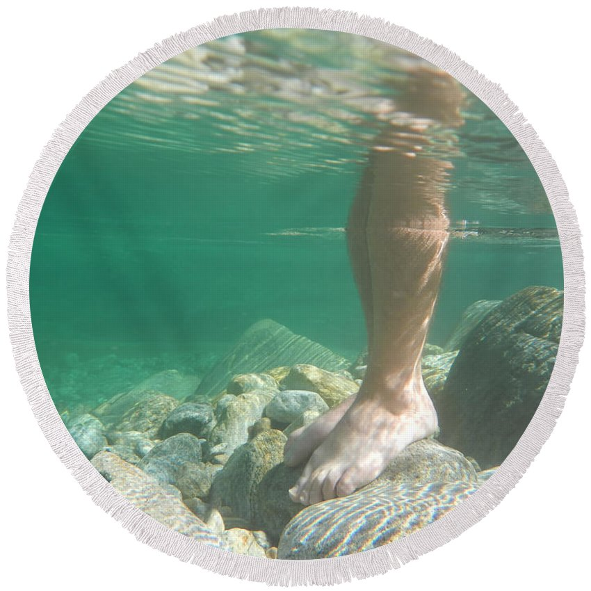 Man Round Beach Towel featuring the photograph Legs Underwater by Mats Silvan