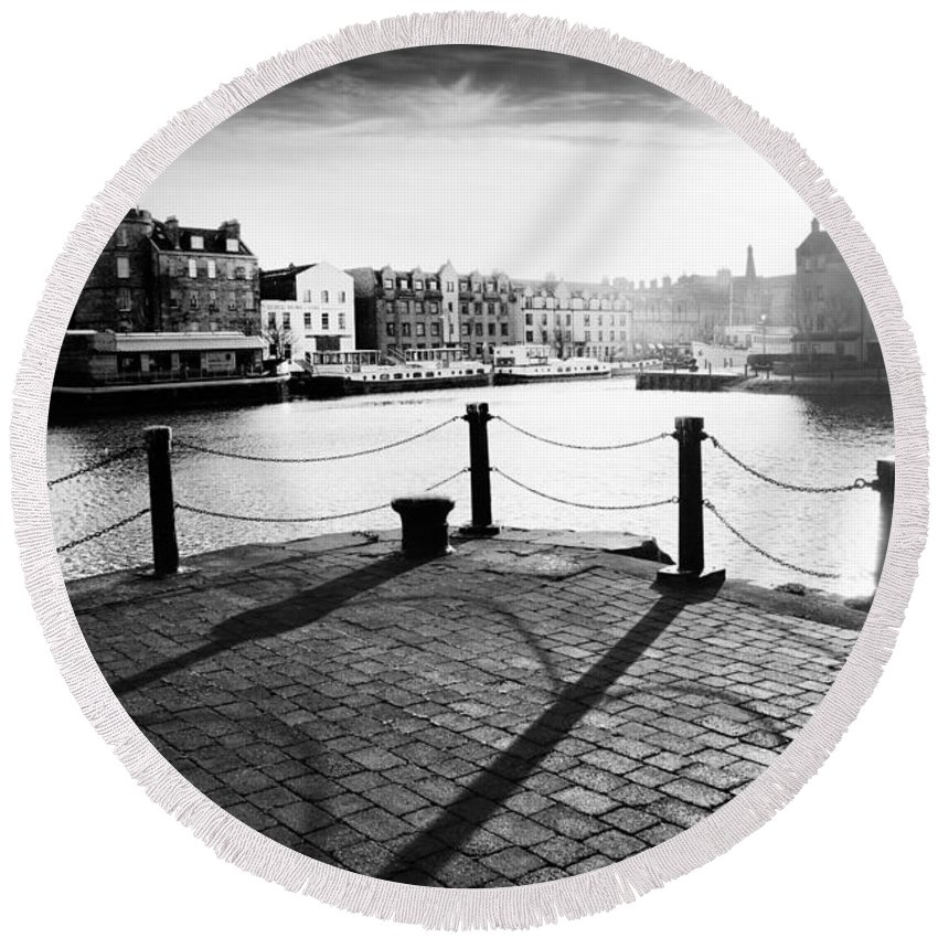Leith Round Beach Towel featuring the photograph Leith Shore Edinburgh by Dorit Fuhg