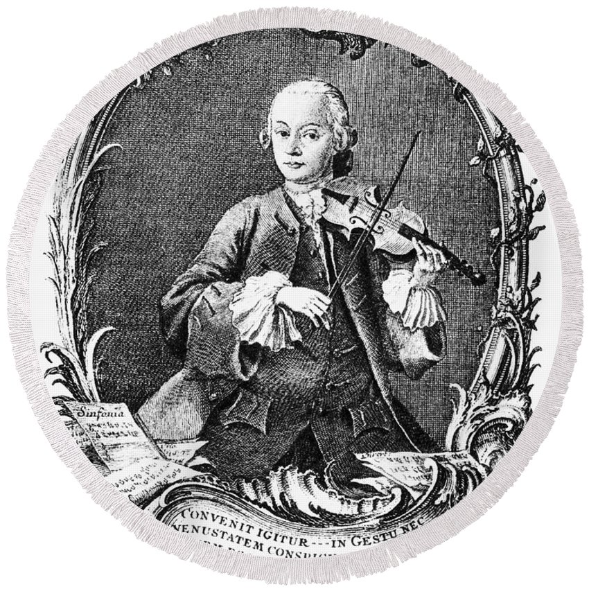 1756 Round Beach Towel featuring the photograph Leopold Mozart (1719-1787) by Granger