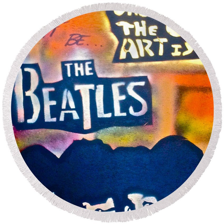 Graffiti Round Beach Towel featuring the painting Let It Be by Tony B Conscious