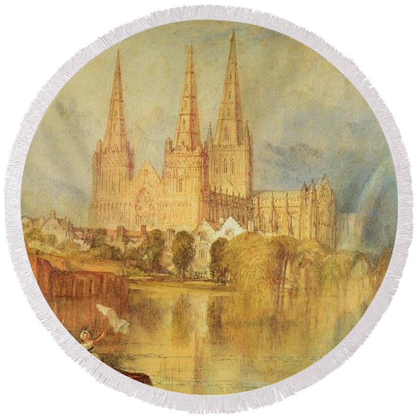 Lichfield Round Beach Towel featuring the painting Lichfield by Joseph Mallord William Turner