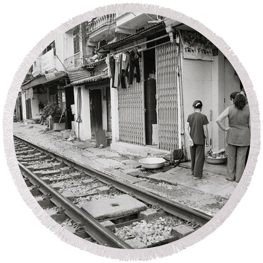 Asia Round Beach Towel featuring the photograph Life By The Tracks In Old Hanoi by Shaun Higson