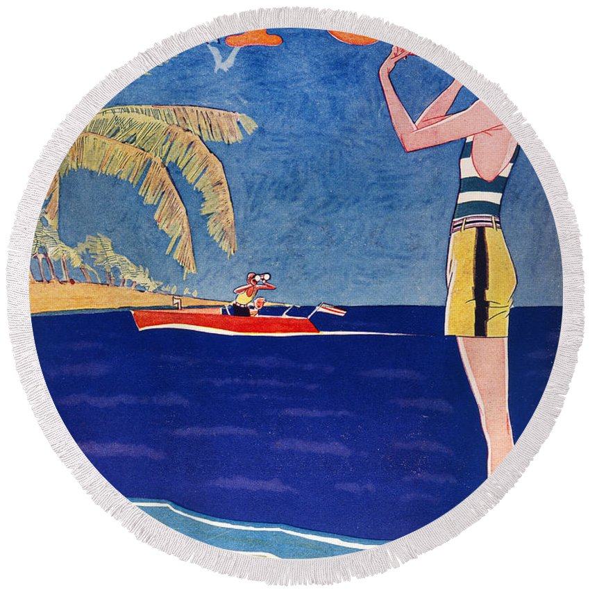 1926 Round Beach Towel featuring the photograph Life: Its A Girl, 1926 by Granger