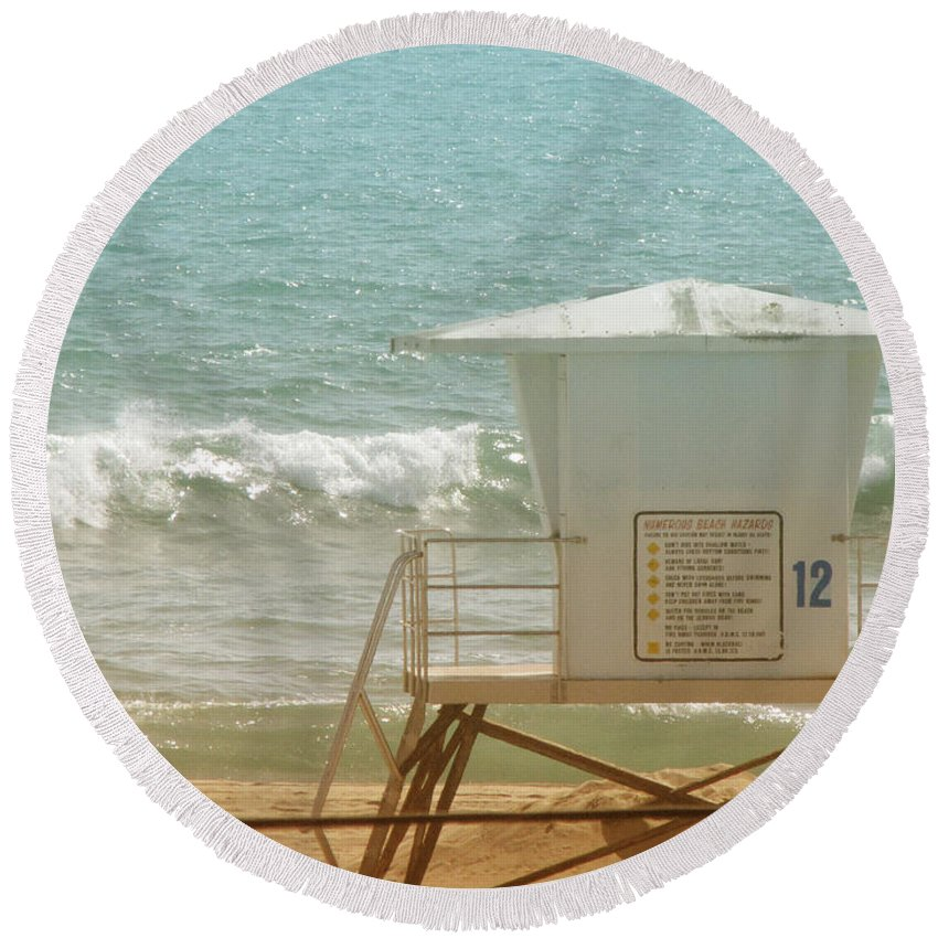 Beach Round Beach Towel featuring the photograph Lifeguard Tower 12 by Kathleen Grace