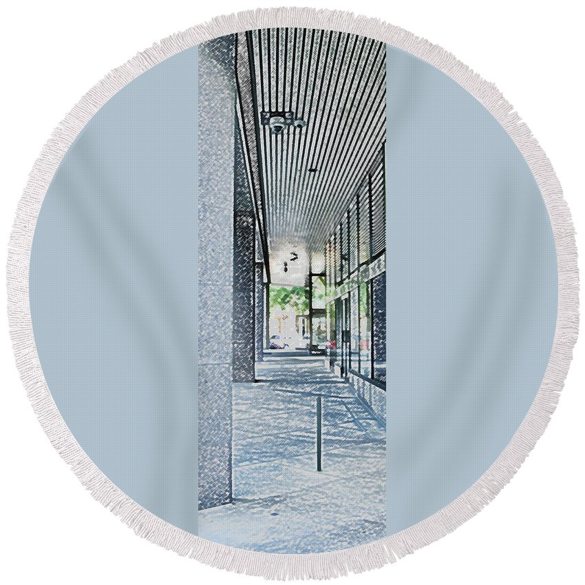 Building Round Beach Towel featuring the photograph Light At The End by Ian MacDonald