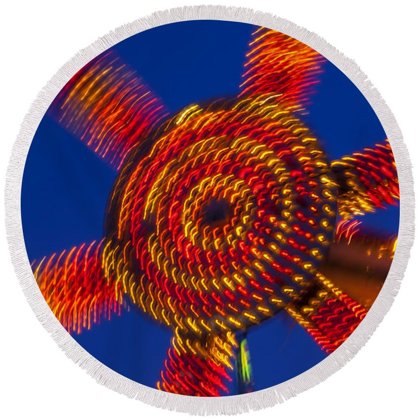 Carnival Round Beach Towel featuring the photograph Light Dance by Garry Gay