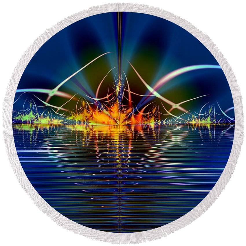 Water Round Beach Towel featuring the digital art Light On The Water by Mario Carini