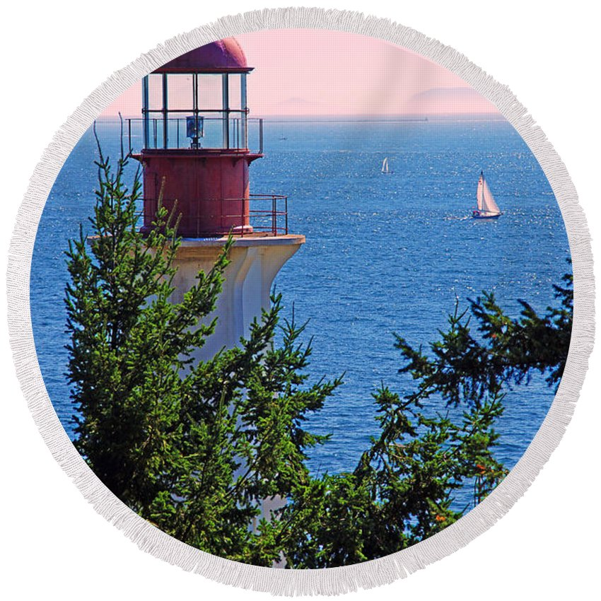 Lighthouses Round Beach Towel featuring the photograph Lighthouse And Sailboats by Randy Harris