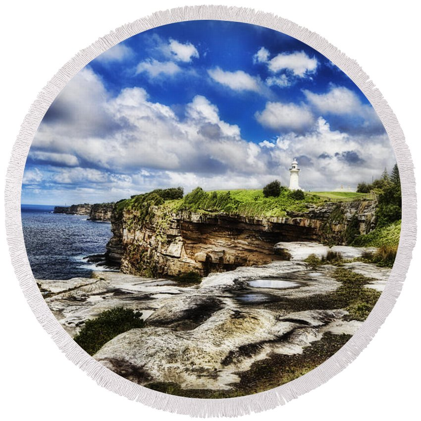 Lighthouse Round Beach Towel featuring the photograph Lighthouse At Watson Bay by Douglas Barnard
