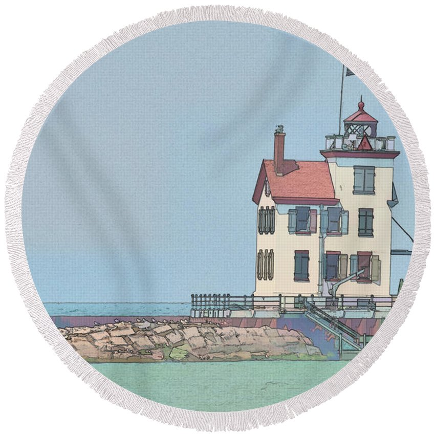 Lighthouse Round Beach Towel featuring the photograph Lighthouse by David Arment