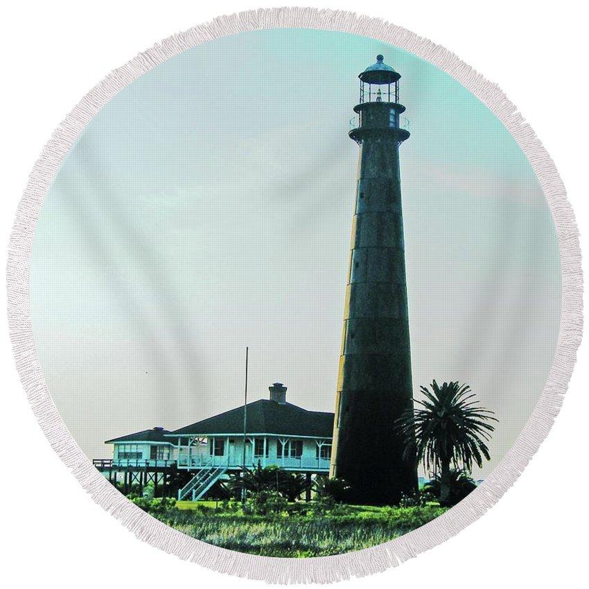 Lighthouse Round Beach Towel featuring the digital art Lighthouse Galveston by Lizi Beard-Ward