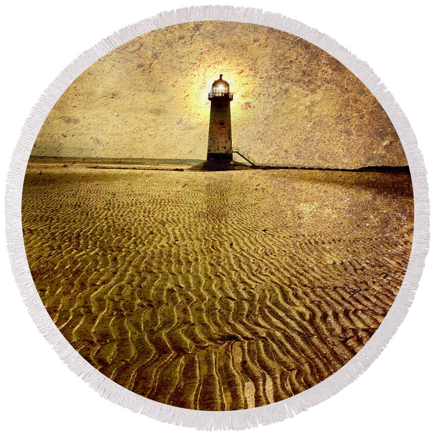 Lighthouse Round Beach Towel featuring the photograph Lighthouse Grunge by Mal Bray