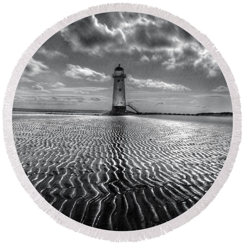 Lighthouse Round Beach Towel featuring the photograph Lighthouse by Mal Bray