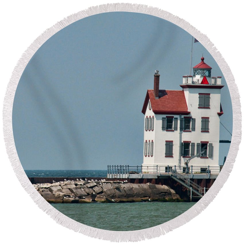 Lighthouse Round Beach Towel featuring the photograph Lighthouse Ohio by David Arment
