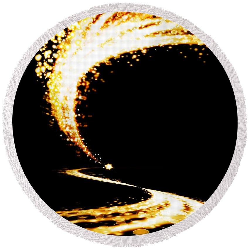 Abstract Round Beach Towel featuring the photograph Lighting Explosion by Setsiri Silapasuwanchai