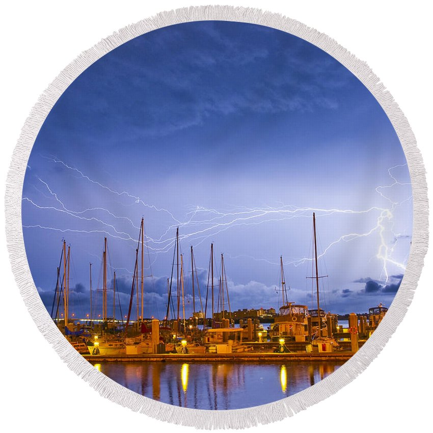 Lightning Round Beach Towel featuring the photograph Lightning At The Marina by Stephen Whalen