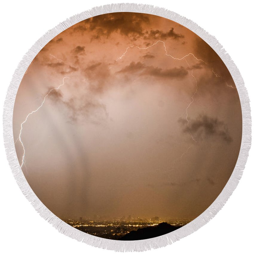 Lightning Round Beach Towel featuring the photograph Lightning Dome by James BO Insogna