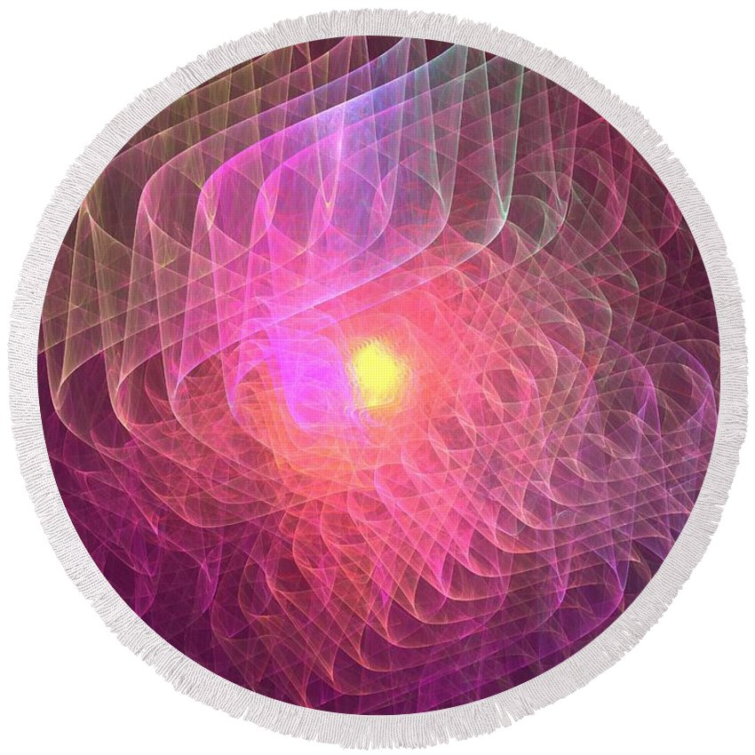 Apophysis Round Beach Towel featuring the digital art Lightwaves by Kim Sy Ok