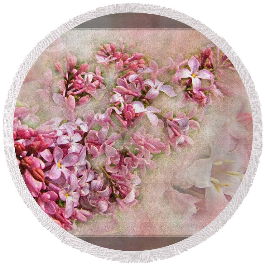 Round Beach Towel featuring the photograph Lilacs And Wegia by Debbie Portwood