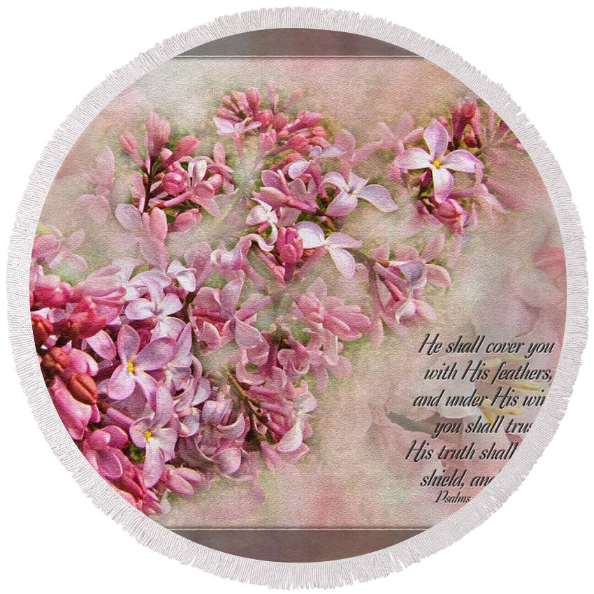 Botanical Round Beach Towel featuring the digital art Lilacs With Verse by Debbie Portwood