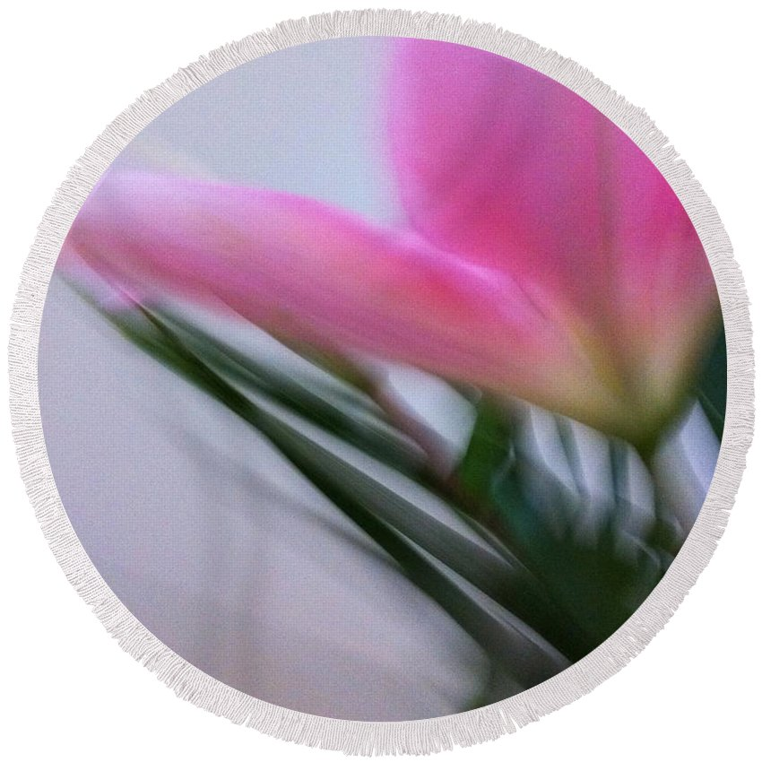 My Moving Portrait Of A Pink Lily. Round Beach Towel featuring the photograph Lily In Motion by Kathy Corday