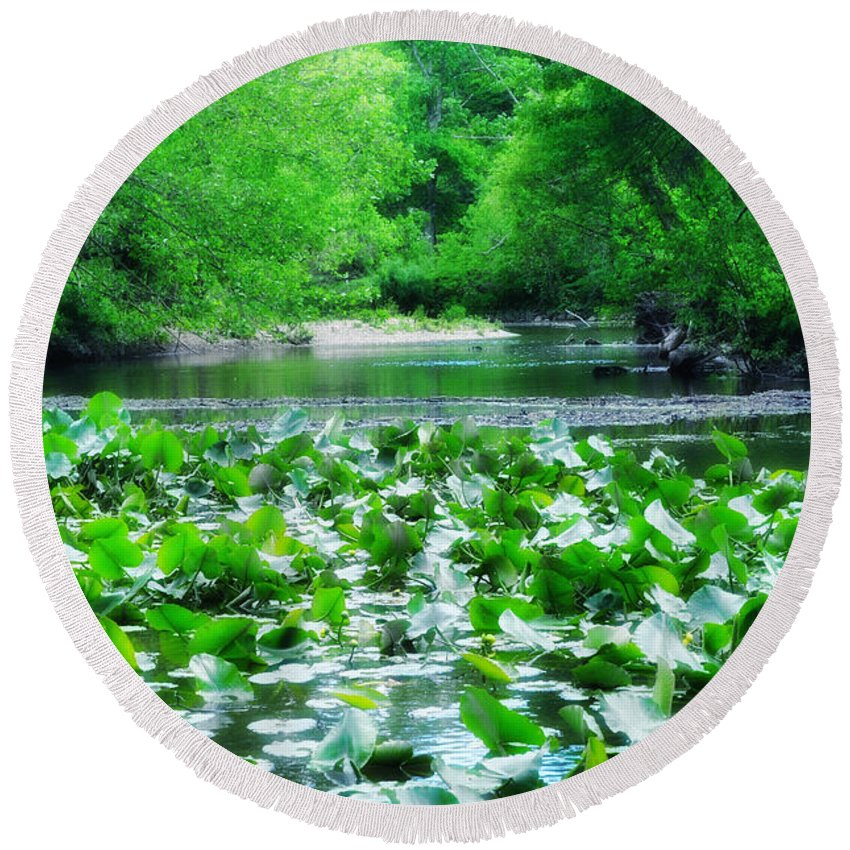 Lily Pads Along Unami Creek Round Beach Towel featuring the photograph Lily Pads Along Unami Creek by Bill Cannon