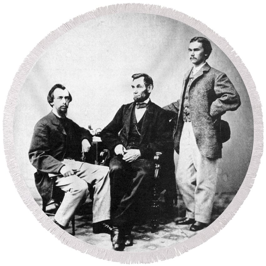 1863 Round Beach Towel featuring the photograph Lincoln & Secretaries, by Granger