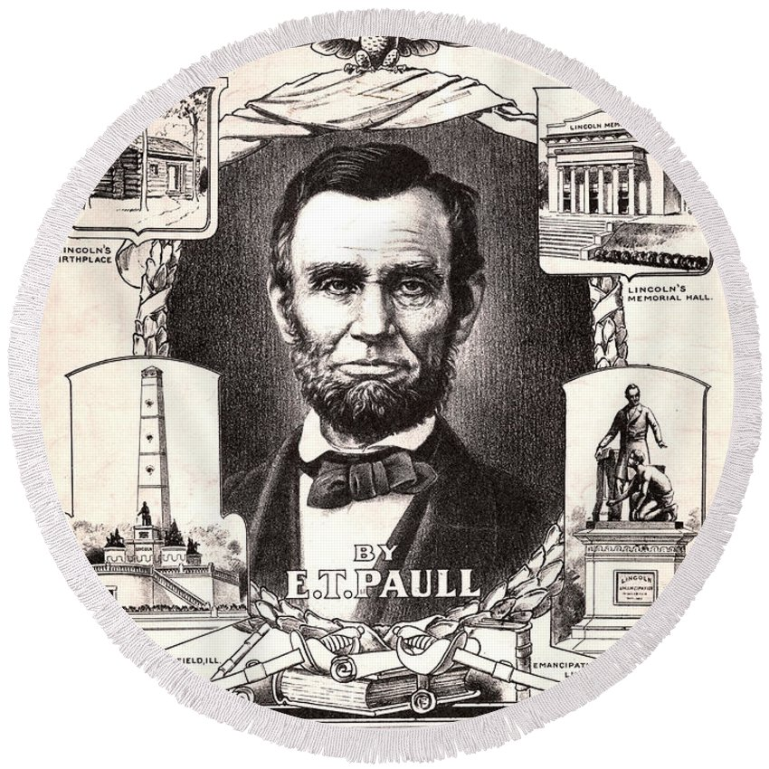 1909 Round Beach Towel featuring the photograph Lincoln Centennial, C1909 by Granger