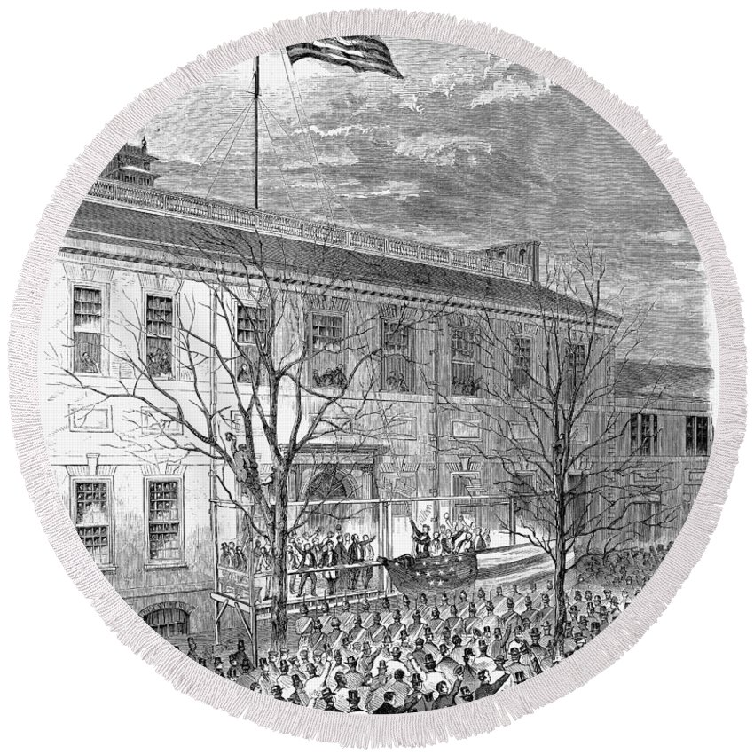 1861 Round Beach Towel featuring the photograph Lincoln: Independence Hall by Granger