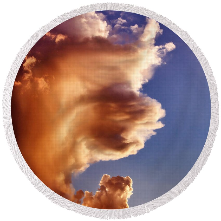 Clouds Round Beach Towel featuring the photograph Lion King Cloud by La Rae Roberts