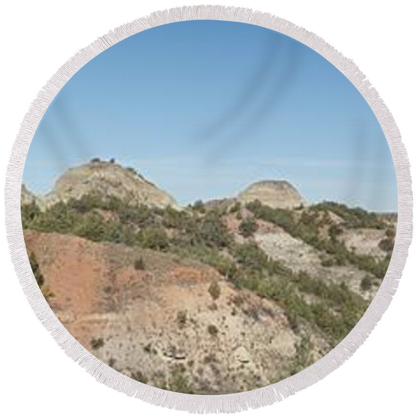 Badlands Round Beach Towel featuring the photograph Little Badlands Missouri Panorama1 by Michael Peychich