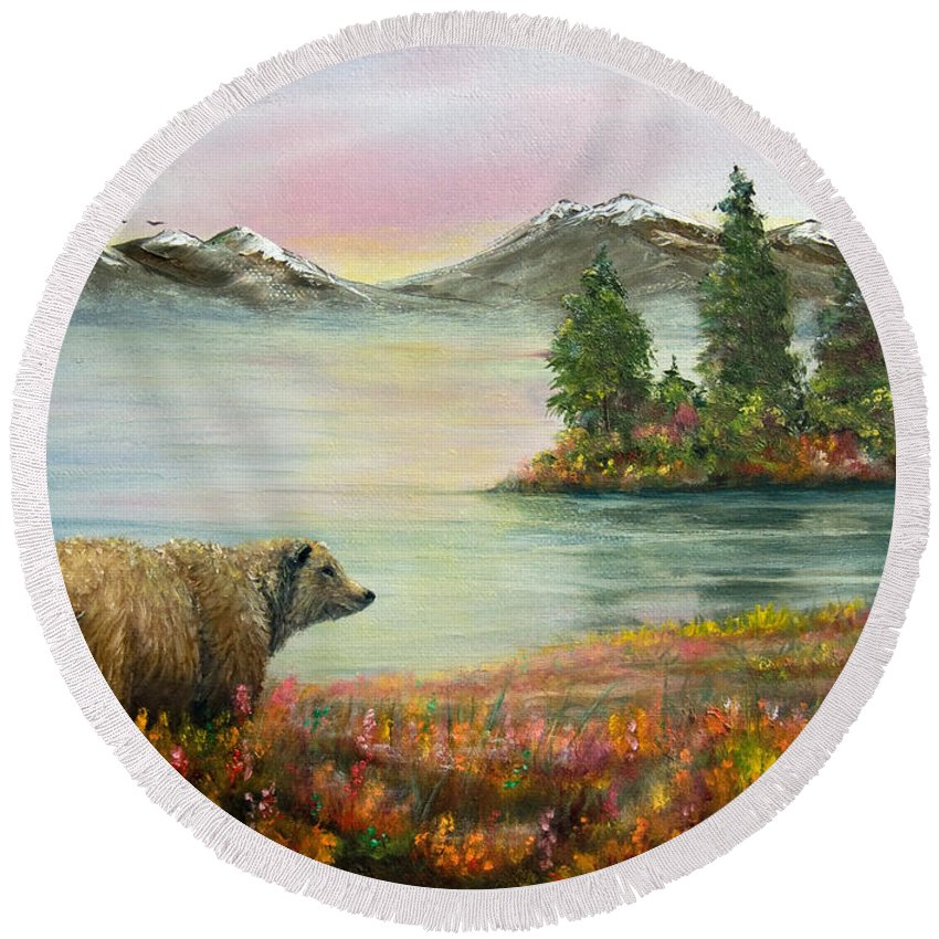 Bear Round Beach Towel featuring the painting Little Bear Big World by Dee Carpenter
