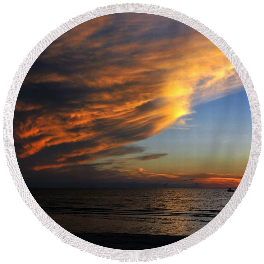 Fine Art Photography Round Beach Towel featuring the photograph Little Boat Sunset by David Lee Thompson