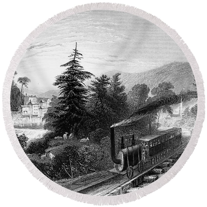 1839 Round Beach Towel featuring the photograph Little Falls: Railroad by Granger
