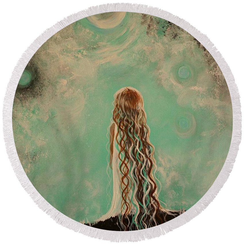 Little Girl Canvas Prints Round Beach Towel featuring the painting Little Galaxie One by Leslie Allen