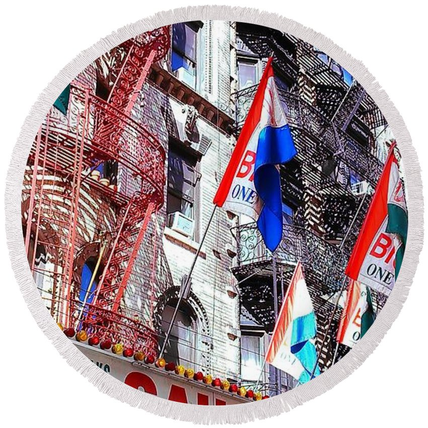 Feast Of San Gennaro Round Beach Towel featuring the photograph Little Italy In Color by Catie Canetti