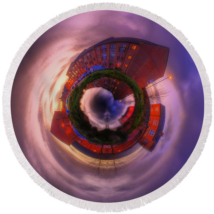 Yhun Suarez Round Beach Towel featuring the photograph Little Planet - Suburban Sunset by Yhun Suarez