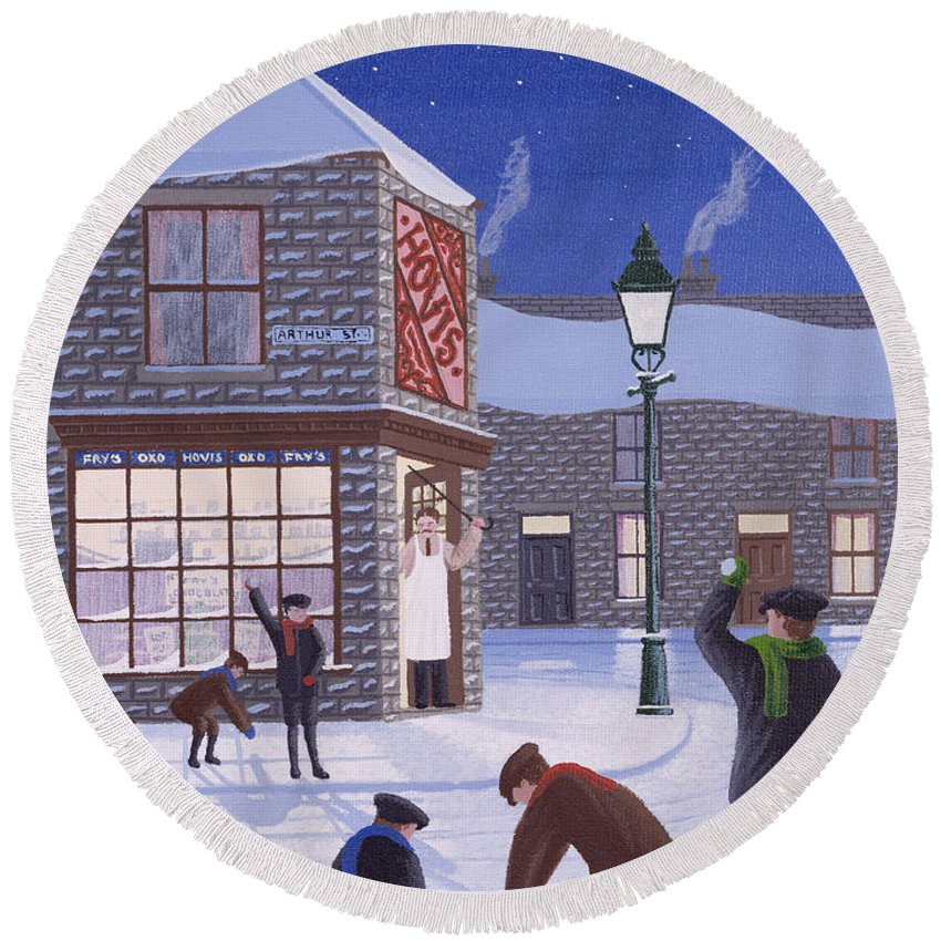 Corner Shop; Lamp Post; Moon; Snowball Fight; Shop Keeper; Hovis; Rascal; Rascals; Child; Children; Boys; Playing; Snow; Winter; Snowballing; Snowballs; Throwing; Games; Man; Angry; Cane; Street Round Beach Towel featuring the painting Little Rascals by Peter Szumowski