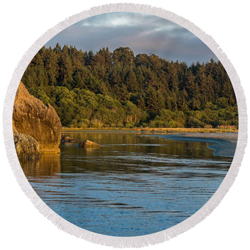 Little River Round Beach Towel featuring the photograph Little River Panorama by Greg Nyquist