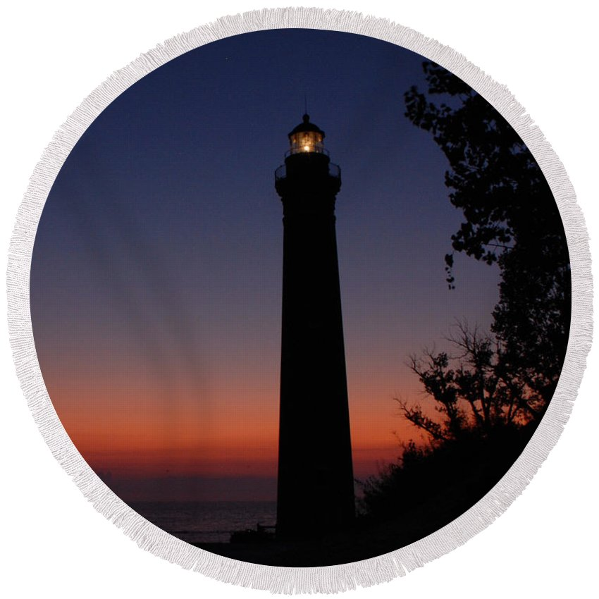 Lighthouse Round Beach Towel featuring the photograph Little Sable Point Lighthouse After Sunset by Grace Grogan
