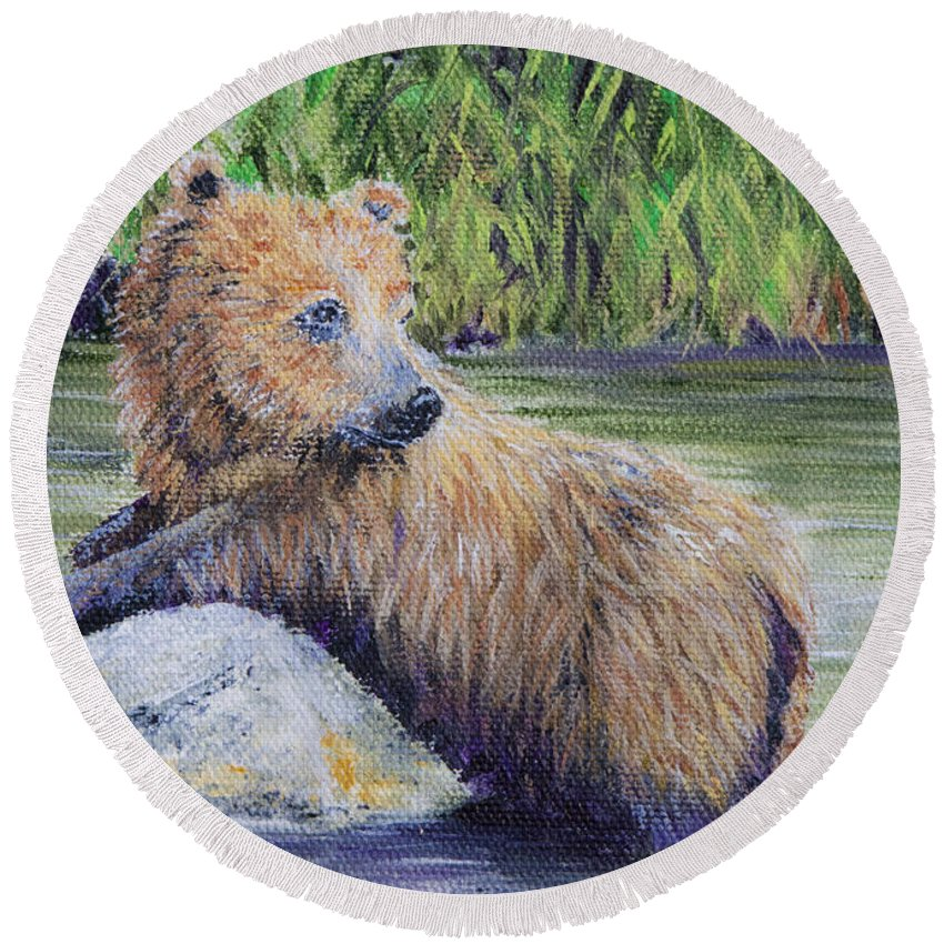 Bear Round Beach Towel featuring the Little Toklat Study by Dee Carpenter