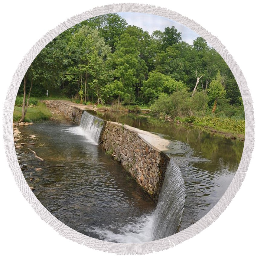 Little Valley Creek Round Beach Towel featuring the photograph Little Valley Creek by Bill Cannon