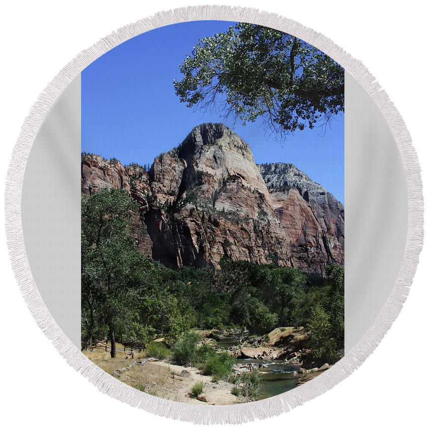 Zion Round Beach Towel featuring the photograph Little Virgin River - Zion National Park by Margie Wildblood